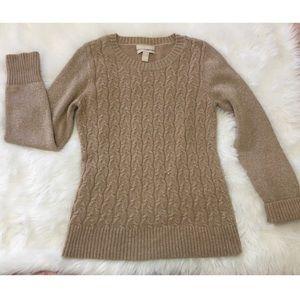 Banana Republic Gold/Tan Sweater Size M